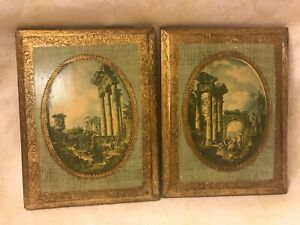 Vintage Pair Of Scenery Pictures On Wood Made In Italy Approx 6 X 8