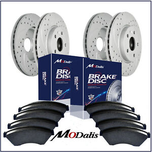 Front rear Kit Drilled Slotted Brake Rotors Ceramic Pads Fit For Honda Accord