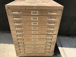 Vintage 11 Drawer Flat File Blueprint Cabinet Artwork Storage Map Shelves