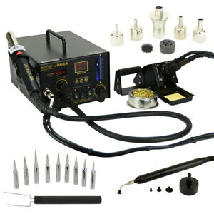 Aoyue 968a 4 In 1 Digital Soldering Iron Hot Air Station Complete Kit 220v