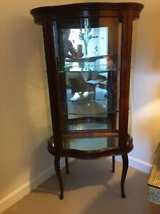 Solid Mahogany Victorian Curio Display Cabinet Small W Glass Door