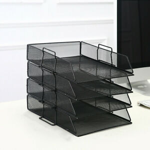 4 Tier Metal Wall Mount File Holder Organizer Hanging Magazine Rack Black