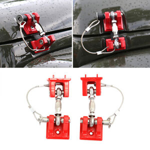 Fit 07 18 Jeep Wrangler Jk Jku Hood Catches Retro Front Hood lock Latches Red