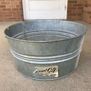 Vintage Cream City Galvanized Wash Laundry Tub With Handles Rustic Primitive