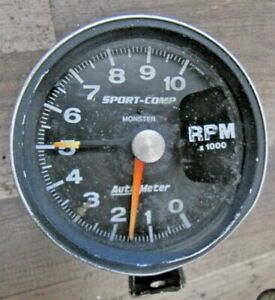 Autometer Sport Comp 3900 Monster 5 Tach 10000 Rpm Mounting Bracket Nice