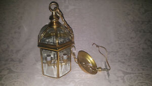 Nice Brass Beveled Glass Porch Foyer Entryway Hanging Lamp Light Fixture 14