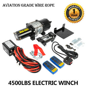 Classic 4500lbs 12v Electric 4wd Winch Kit Wireless Remote New