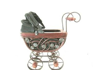 Vintage Victorian Wicker Wood Doll Baby Carriage Metal Wheels 71 2 Long