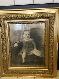 Large Gilt Victorian Wood Frame Picture Frame W Glass Photo 27 X 31