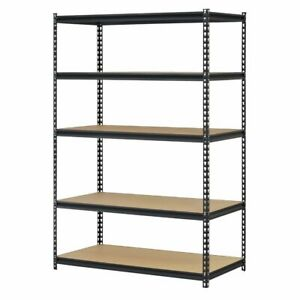 1pcs 110 X 45 X 180cm 5 Tiers Powder Coated Storage Rack Black A0r4