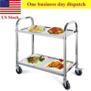 2 Tier Stainless Steel Rolling Serving Cart 330lbs Utility Cart Kitchen Cart Big