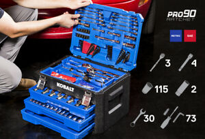 New Lifetime Guarantee Kobalt 227 pc Standard Metric Tool Socket Set W Case