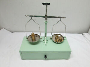 Balance Scale Made In West Germany W Drawer Weight Set Vintage Collectible Troy