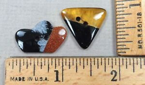 Lot Of 2 Onyx Obsidian Tiger S Eye Gemstone Buttons Polished Shapes 1800s