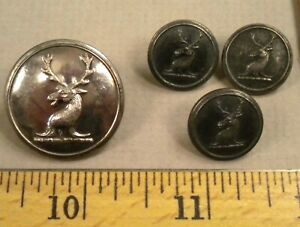 Set Of 4 Stag Deer Sporting Hunt Club Buttons 1800s Firmin