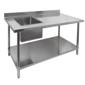 New 30 X 48 Work Table Left Side 16 X 20 Prep Sink 2095 Stainless Steel