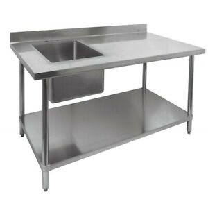 New 30 X 60 Work Table Left Side 16 X 20 Sink 2096 Stainless Steel Prep