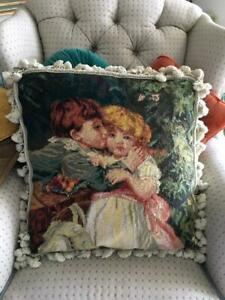 Vtg Xl Completed French Boy Girl Kissing Needlepoint Tapestry Pillow W Tassels