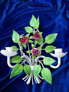 Vintage Tole Candelabra Wall Sconce W Roses Charming Shabby Chic