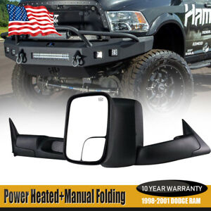 For 1998 99 2001 Dodge Ram 1500 2500 3500 Truck Flip Up Power heated Tow Mirrors