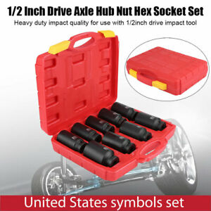 9pcs 1 2 Drive Axle Hub Nut Hex Socket Kit 29 30 31 32 33 34 35 36 38mm Us New