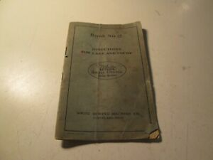 Vintage White Rotary Electric Sewing Machine Manual Book No 12