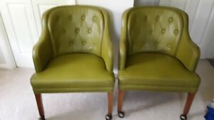 Pair Vintage Upholstered Mid Century Modern Lounge Barrel Club Chairs On Casters