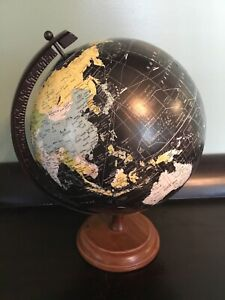 Vintage Pottery Barn Divine 10 World Black Globe Wood Base