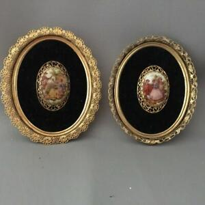 Antique Vtg Fragonard Porcelain Love Story Cameo Plaque W Filigree Frame Pair