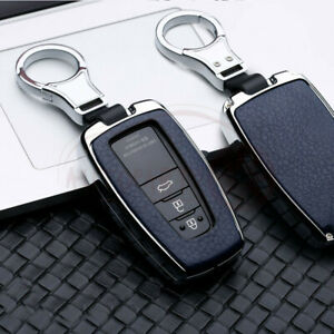 For Toyota Camry Rav4 Chr Leatherette Silver Blue Metal Key Fob Chain Case Cover