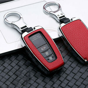 For Toyota Camry Rav4 Chr Leatherette Silver Red Metal Key Fob Chain Case Cover