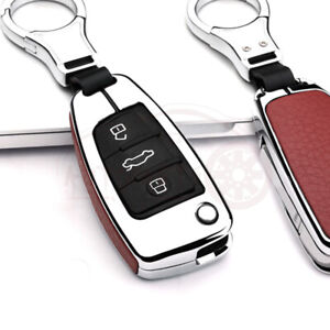 Metal Leatherette Car Key Fob Case Cover Chain Sliver Red For Audi A3 A4 A8 A6
