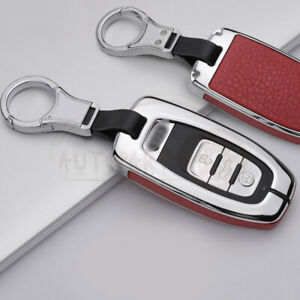 Metal Leatherette Sliver Red Key Fob Chain Case Cover For Audi S8 A4 A7 Ect