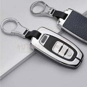 Metal Leatherette Sliver Blue Key Fob Chain Case Cover For Audi S8 A4 A7 A8 Ect