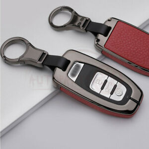 Metal Leatherette Gun Red Key Fob Chain Case Cover For Audi S8 A4 A7 A8 Ect