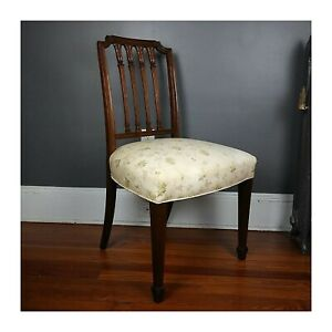 Antique Sheraton Side Chair Mahogany Carved 19th Century