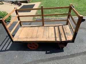 Antique Early 1900s Railroad Baggage Cart Industrial Cart
