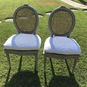 Pair Of Louis Xvi French Cane Back Dining Chair White Cushion 8 Available