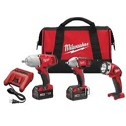 M18 3 tool Combo Impact Wrenchs Work Light Kit Milwaukee Electric Tools 2696 23