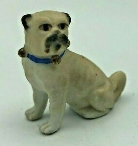 Antique Bisque Sitting Pug Dog Figurine 1 3 8 Blue Collar With Gold Bells