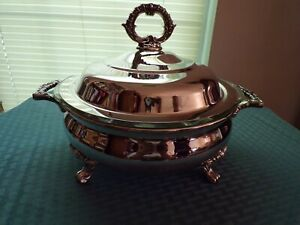 W M Rogers Silver Co Silver Plate Footed Covered Casserole Dish