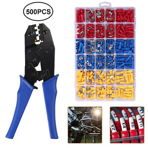 500pcs 10 22awg Wire Terminals Crimp Connectors 0 5 6mm Cable Crimping Plier
