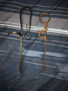Two Vintage Iron Miner S Sticking Tommy Tommy Stick Candlestick Holder