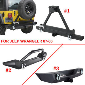 Front Rear Bumper Winch Plate D ring Tire Carrier For 87 06 Yj Tj Jeep Wrangler