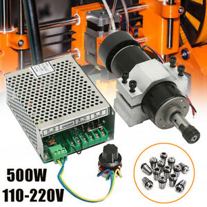 Cnc Air Cooling 500w Spindle Motor speed Governor 13 Er11 Spring 52mm Clamp