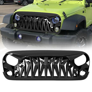 Jk Shark Grill Front Guard For 2007 2018 Jeep Wrangler Jkuglossy Blackabs