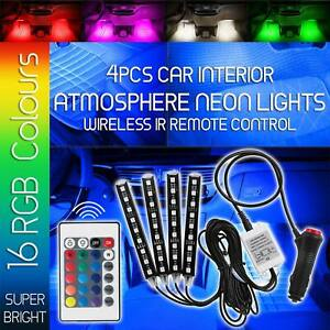 4x Rgb Full Color 36 Led Interior Car Under Dash Floor Seats Accent Neon Lights