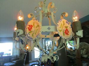 Antique Spider French Tole Chandelier Light Creamy Chippy Iron Chic Shabby Ooak