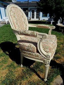 Vintage Antique White Wood French Arm Chair Embroidered Fabric Gorgeous