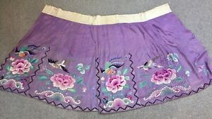 Beautiful Antique Chinese Silk Skirt Embroidered Birds Flowers Stunning